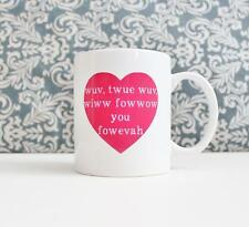 Wuv Twue Wuv Quote Ceramic Coffee Mug gift Cup Princess Bride movie Heart pink
