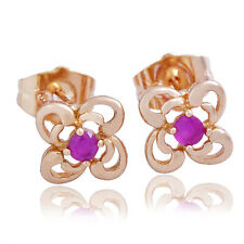 8mm RED RUBY Flower Gold Earrings  Girls Teen Kids Children M0786