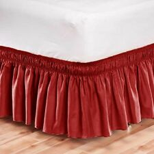 Elastic Bed Skirt Dust Ruffle Easy Fit Wrap Around Red Color King Size