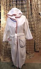 BILL BLASS WHITE Hooded 2-Pockets Terry Spa Wrap Bathrobe with Belt - SIZE XL