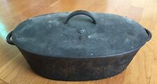 "Vintage Cast Iron Dutch Oven Roasting Pan # 2 With Lid Heavy 12"" Long"