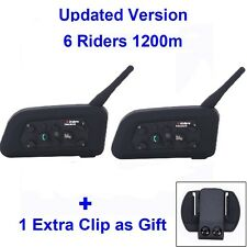 2x 1200M Intercomunicador Bluetooth Interphone Casco Auriculares V6 Moto 6 Rider