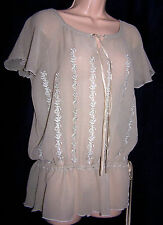 HALLHUBER DONNA GERMANY 100% PURE SILK EMBROIDERED GYPSY FESTIVAL BLOUSE 14UK 42