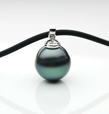 $729 Pacific Pearls®  13mm Tahitian Black Pearl Pendant 18K White Gold