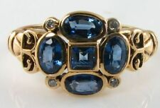 DIVINE 9CT 8K GOLD BLUE SAPPHIRE & DIAMOND ART DECO INS RING FREE RESIZE