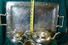 Zee Sung  Sterling Silver Antique Chinese Tea Set with Bamboo Design and Details