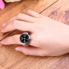 Creative Fashion Steel Round Elastic Quartz Finger Ring Watch Lady Girl Gift F5