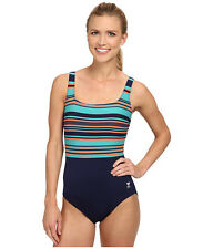 TYR DELRAY AQUA CONTROLFIT ONE PIECE SWIMSUIT NAVY BLUE STRIPE SIZE 12 NEW! $80