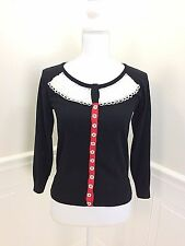 GUINEVERE Anthropologie Snap Front Cardigan Black with Ivory Silk Trim size S