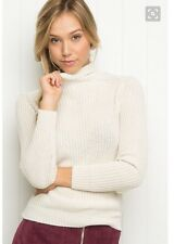brandy melville Fitted beige/cream cable knit leona  turtleneck sweater NWT