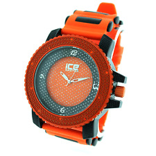 MENS ICED OUT HIP HOP BLING ORANGE/BLACK ICE MASTER BULLET BAND WATCH