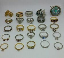 Lot of Vintage Rings, Adjustable Silver and Gold Tone Rhinestones CZ #3