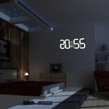 3D Large Moderne LED Mural Horloge Numérique 24/12 Heure Lumineuse Télécommandé