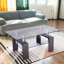 Rectangular Glass Coffee Table Wood w/ Shelf Living Room Home Furniture New