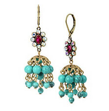 Betsey Johnson Gold-Tone Blue Bead Cluster Chandelier Drop Earrings