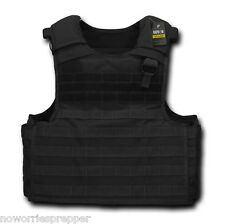 Black TACTICAL PLATE CARRIER POLICE PRIVATE SECURITY Ready MOLLE VEST Combat