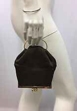 VINTAGE JUDITH LEIBER SILK DOUBLE CHANGE PURSE BRACELET HANDLE BROWN GOLD MIRROR