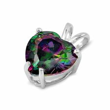 .925 Sterling Silver Heart pendant Rainbow Mystic Topaz Love Ladies Charm New 98