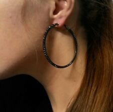 NiX 1548 Baali Bali Retro Style Black Tone Big Hoop Circle Ear Earrings New Gift