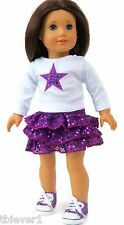 """White Top with Star & Purple Sequined Skirt fits 18"""" American Girl Doll Clothes"""