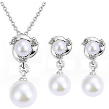 Bridal Weddings White Pearl and Silver Jewellery Set Drop Earrings Necklace S575