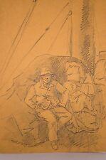 dessin at. de VALORI, fin 19°, passager sur le pont d'un bateau à vapeur