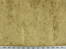 Drapery Upholstery Fabric Velvet - Low Pile Embossed Crocodile - Gold