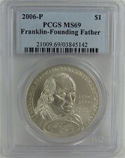 2006-P BEN FRANKLIN - FOUNDING FATHER SILVER DOLLAR PCGS MS69