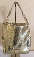 AUTHENTIC MICHAEL KORS DELANCY METALLIC PALE GOLD LEATHER TOTE PURSE
