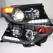 2008-2014 Year Land Cruiser LC200 FJ200 LED Front Lamps Lights Black Housing LZ