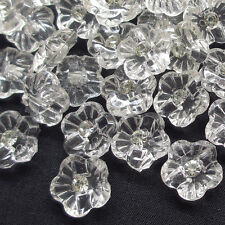 New 50pcs Clear Flower Rhinestone Plastic Buttons 16mm Sewing Craft T0814