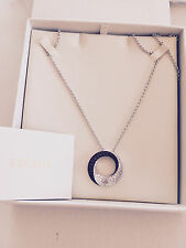 NWT ESCADA Sterling Silver White And Black Open Circle Long Necklace