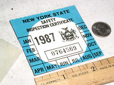 1 VINTAGE UNUSED 1987 NY N.Y.S NEW YORK STATE CAR AUTO SAFETY INSPECTION STICKER