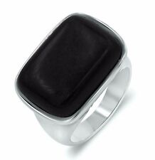 Big Natural Black Onyx Sterling Silver Anniversary Cocktail Ring 9