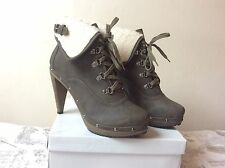 Ladies / Woman High Heel Lace Up Ankle Boot Kaki Green Uk 7