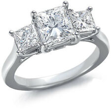 1.00ctw GENUINE F/VS1 DIAMONDS IN 14K SOLID WHITE GOLD 3-STONE RING - 3.2g