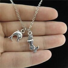 "18"" Chain Alloy Collar Short Necklace Silver Dolphin Mermaid Pendant Animal Chic"