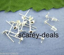 100 Halfball SILVER PLATED earring stud posts w /Loops+free backs 1ST CLASS POST