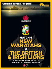 NSW Waratahs V British & Irish Lions 15 Jun 2013 Rugby programa Perfecto
