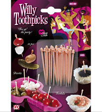 WILLY SHAPED TOOTH PICKS 12 PACK OF  NOVELTY ITEM HEN NIGHT PARTY ACCESSORIES