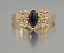 #JB41 10K Women's Yellow Gold Blue Sapphire With Diamond  Ring Size 4.5