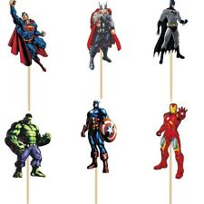 Avengers/ Superhero Cupcake Toppers/Food Picks Party Decorating Favor Set of 24