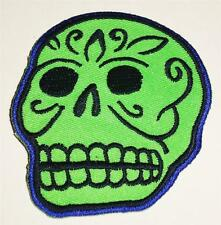 KRUSE~green~SKULL~goth~PUNK~ROCKABILLY~gothic~APPLIQUE~hot~TOPIC~iron~ON~PATCH