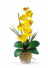 Nearly Natural 1016-GY Phalaenopsis Silk Orchid Flower Arrangement- Yellow NEW