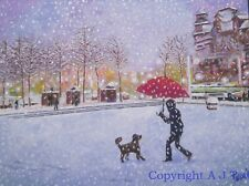 "Original Painting -  - 12"" x 16"" - Acrylic - 'Out in the Snow'"