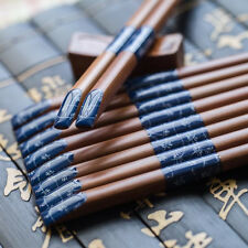 5 Pairs Japanese Iron Wood Chopsticks with Peace Chinese Blue Handcrafts Chop