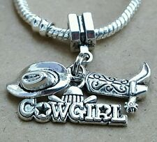 1PC Silver Country Cowgirl Cowboy Boot 3D Western Hat European Dangle Bead Charm