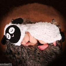 Soft Crochet Newborn Photography Knit Sheep Hat Diaper Cover Baby Photo Prop