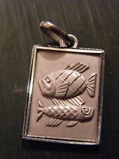 Pendentif Médaillon Signe du Zodiaque en Argent Massif Poisson Silver Silber rec