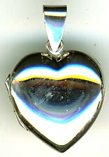 """925 Sterling Silver Plain Heart Locket Pendant 15mm (3/5"""" ) Diam without bail"""
